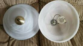Pair of decorative glass lampshades