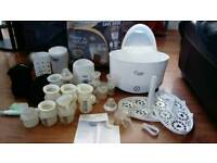 Baby feeding starter kit and manual breast-feeding pump