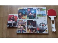 7 X WII GAMES C/W TABLE TENNIS BAT, ALL IN A VGC