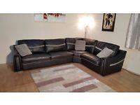 Ex-display Sisi Italia Victor black leather and fabric corner sofa