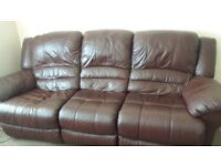 Leather recliner 3 seater settee and recliner chair