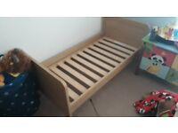 Mamas and papas cot/bed and wardrobe oak finish