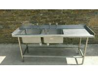 Double catering sink left hand bowls