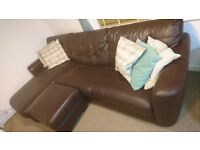 dfs corner sofa, brown leather excellent conditions sofa bed, storage and stool ottoman