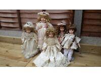 Porcelain Dolls collection - 5 dolls