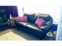 Black leather 2 seater sofa £50 for quick sale