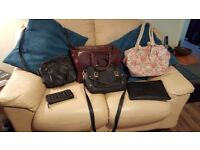 4 x leather handbags 1 x cloth floral rope handle bag £10 the lot