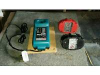 Makita battery charger plus 2 batterys