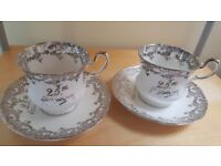Staffordshire Fine Bone China Cups and Saucers x 2