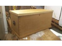 Beautiful Solid Ash Chest / Coffee Table Antique - Large, Big, Trunk