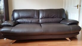 3+2 seater brown leather suite