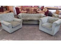 Light green velour covered chesterfield 3 seater, club chair and armchair