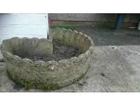 Corner concrete planter.