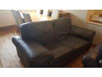 Navy Incanto leather 2 seater sofa