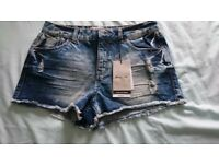 Newlook Mottled denim shorts