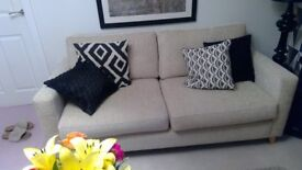 New sofa and contrasting armchair both in excellent condition