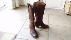 Clarks brown leather knee high boots