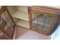 Antique vintage upcycle wall cupboard unit glass doors with georgian bars