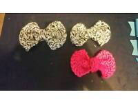 Wool bow Hair clips