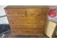 Large heavy solid pine 3+2 drawer chest of drawers *project*