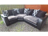 Leather/fabric corner sofa suite as new