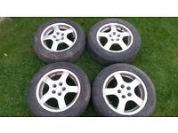 """15"""" VW Audi Borbet Alloys 5 Stud Wheels."""