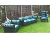 Antique blue three piece chesterfield suite