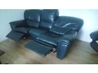 Black reclier sofa 3 seater