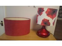 Red lamp and 5 various shades