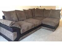 Cord Corner Sofa/Couch Brown/Grey/Black
