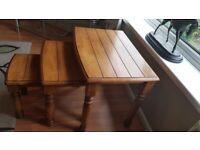 nest of 3 interlocking wooden tables