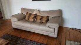 Cream Leather Sofa, Great Condition