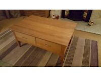 Laura Ashley coffee table, solid light ash, lots of drawers for storage.