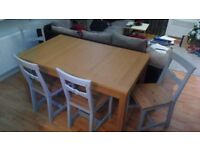 IKEA Extendable Family size Oak table with 4 chairs BJURSTA GAMLEBY