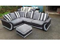 DFS black grey sofa and stool