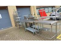 Industrial kitchen stanless steel worktops