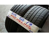 PAIR MATCHING 215 50 17 MICHELINS 6MM TREAD £70 PAIR SUP & FITD OVR 3000 TYRES IN STOCK *7 DYS