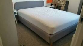 New Grey Fabric 4ft6 Double Bed with Sprung Mattress