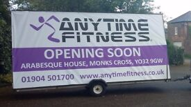 Advertising trailer, double sided 'A' board 8ft x 16ft (2400 x 4900mm) panels.