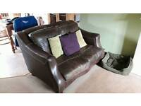 Leather sofa (2 seater) and 2 chairs