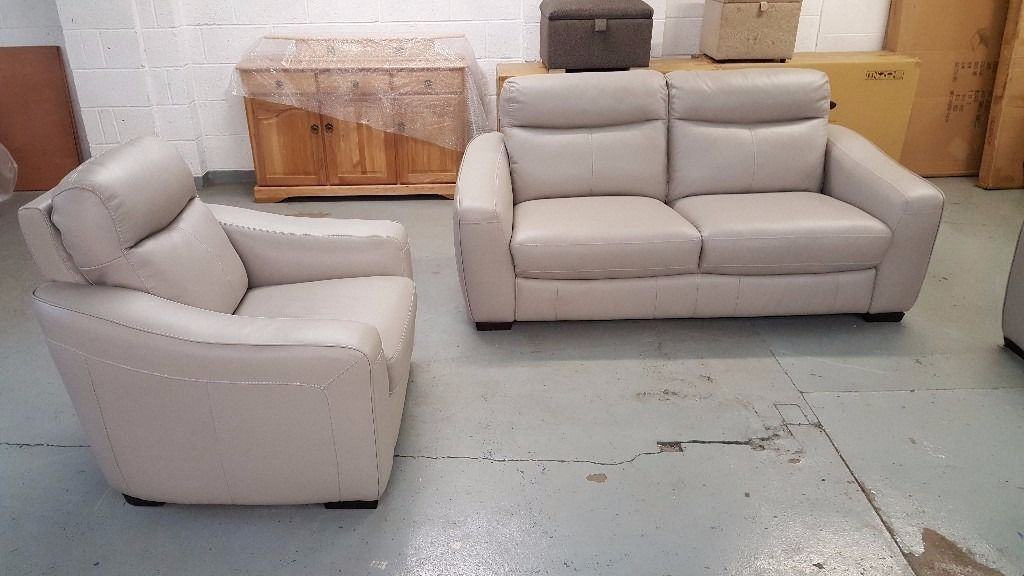 Furniture Village Armchairs cressida silver grey leather 3 seater sofa and 2x armchairs ex