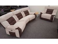 SCS Nelson Brown 4 Seater & Armchair Electric Recliner Free Delivery Nottingham Derby View Hucknall