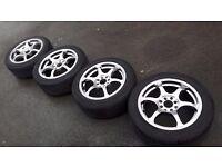 "15"" alloys & tyres 4x100 VW lupo polo caddy corrado bmw e30 mazda mx5 corsa astra civic ford fiesta"