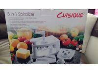 Cuisique 8 in 1 Spiralizer - slicer, grater, shredder - NEW IN ORIGINAL BOX