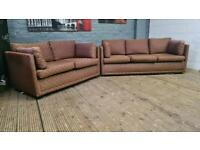 BROWN FABRIC SOFA SET 3+2 SEATER IN GOOD CONDITION