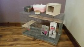 CHINCHILLA, RABBIT, GUINEA PIG - PET CAGE WITH ACCESSORIES, EXC- CONDITION, PERFECT FOR VARIOUS PETS