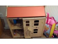 Wooden Dolls House with extras