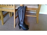 WOMENS BOOTS, size 7, EU size 40. KNEE HIGH-BLACK LEATHER.