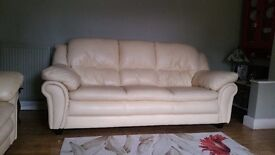 Cream Leather Sofa's - 2 & 3 Seater sold as a pair or will split