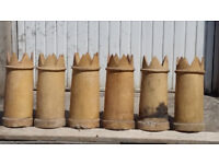 Six matched victorian crown chimney pots